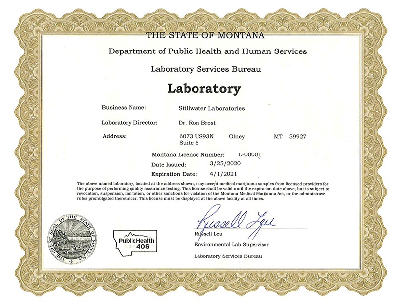 Certificate from the Department of Public Health and Human Services